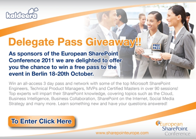 Win an All Access Pass to the Conference Sponsored by Kaldeera