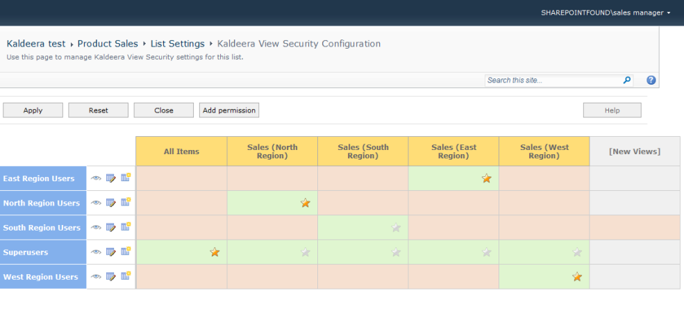 Kaldeera View Security configuration page