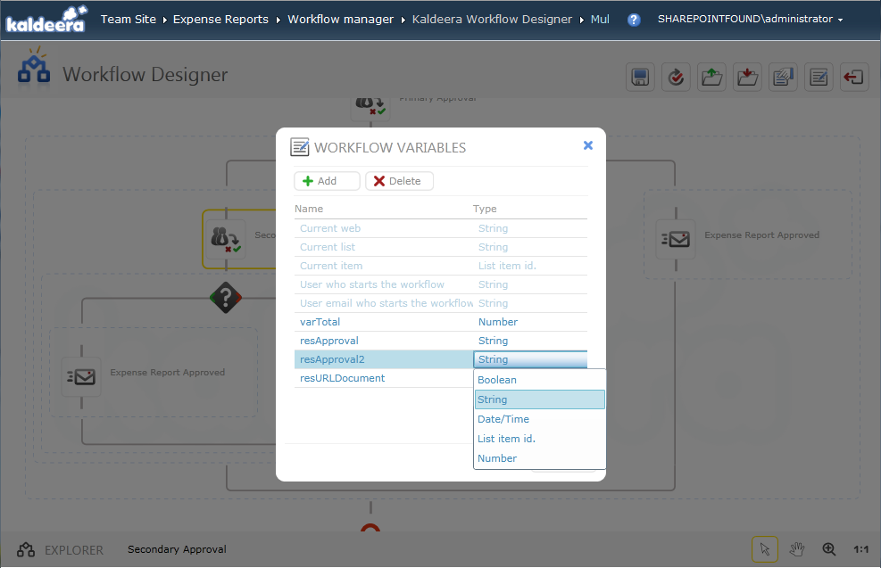 Workflow variables management.