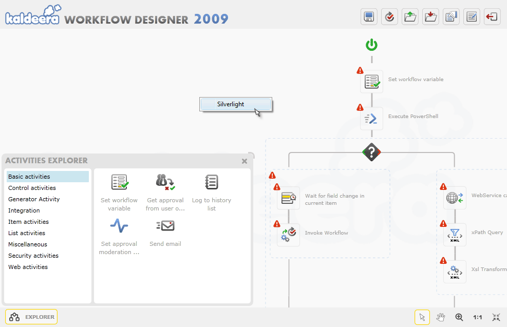 Silverlight Designer integrated in SharePoint.